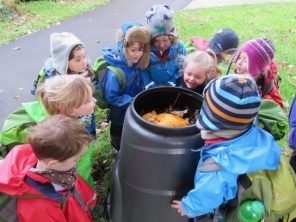 Checking out the compost bin